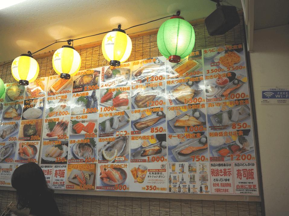 小樽三角市場滝波食堂